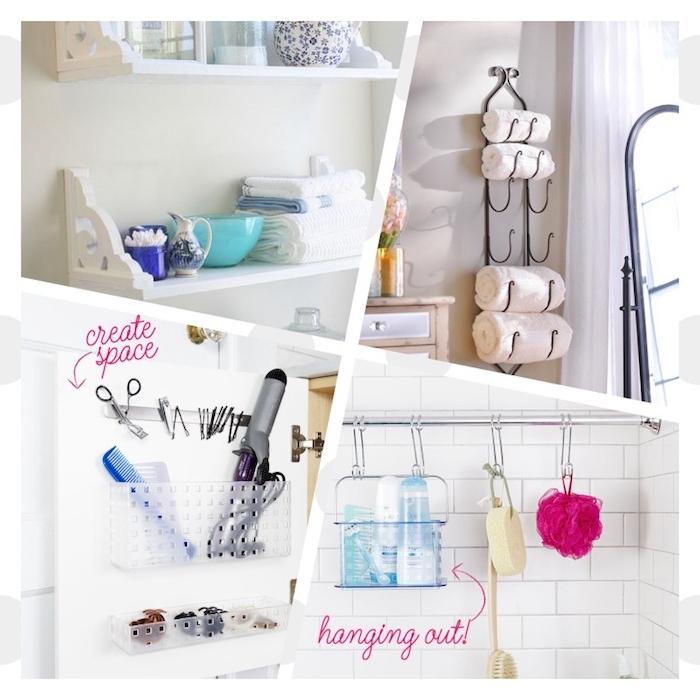 petite salle de bain design aménagée avec des accessoires de rangements, étagères, suspensions, patère