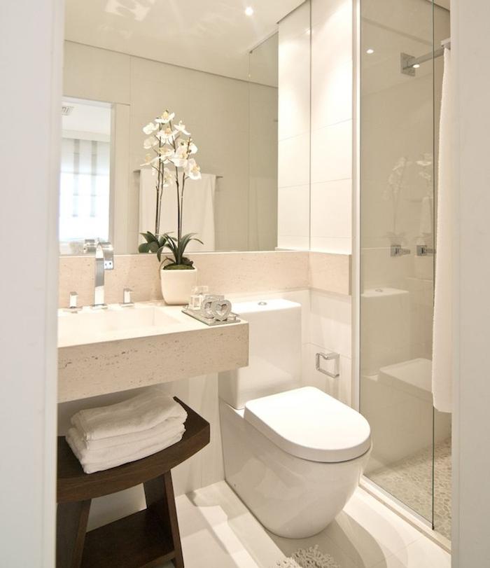 salle de bain italienne petite surface avec wc blanc, lavabo marbre,, tabouret rangement bois, douche italienne