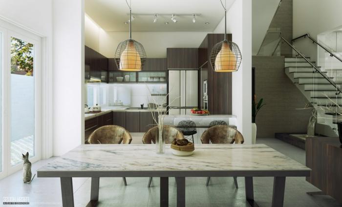 table marbrée, escalier moderne, cuisine à plan ouvert, sol lisse, lampes contemporaines