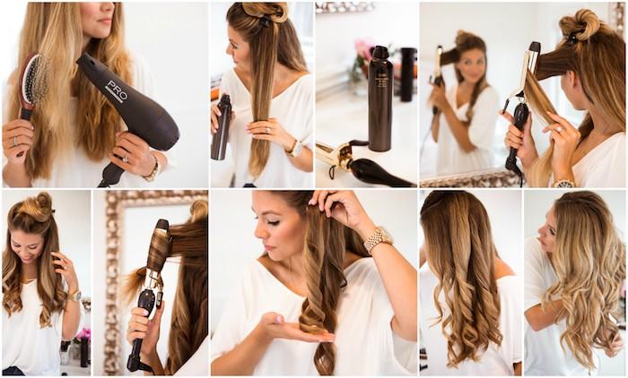 tutoriel pour boucles ses cheveux soi-même avec un fer à boucler, étape par étape pour faire des cheveux ondulés