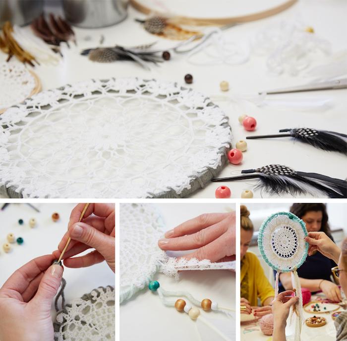 comment décorer un capteur de rêve, cercle enveloppé de laine avec un napperon blanc, deco chutes de laine, tissu et perles en bois