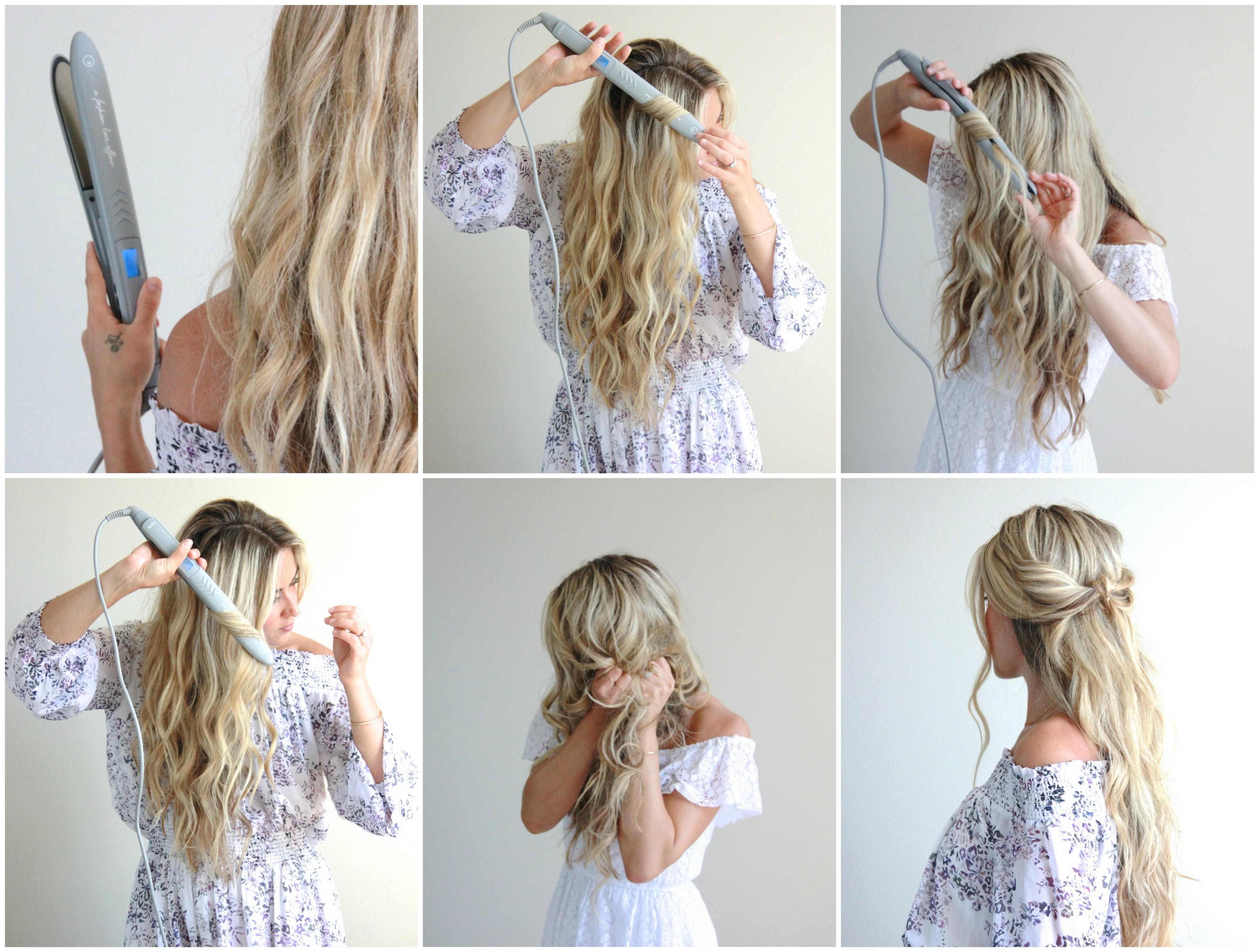 tutoriel pour faire des boucles avec in lisseur, idée de coiffure cheveux bouclés sur une chevelure longue blonde