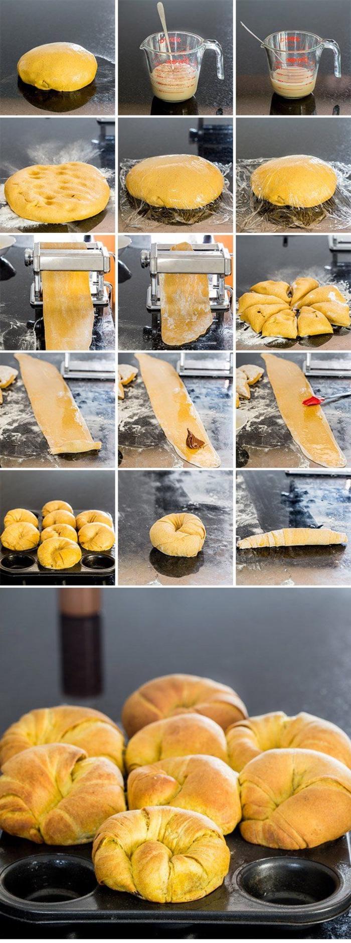 tuto pas en pas pour faire des brioches dorées au nutella, recette au nutella pour une viennoiserie faite maison
