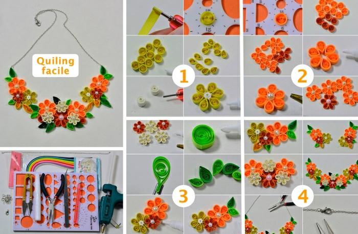 faire un collier en fleurs, les étapes à suivre, joli design fleuri de collir fait main