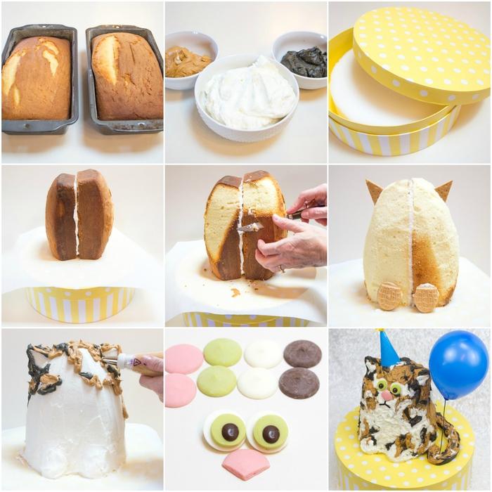 tuto pour réaliser un gateau anniversaire facile en forme de joli chat recouvert de glaçage chocolat et vanille