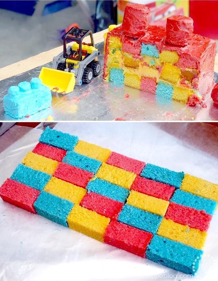 idée gateau anniversaire damier plusieurs couleurs en forme de brique lego pour un anniversaire garçon sur thème lego