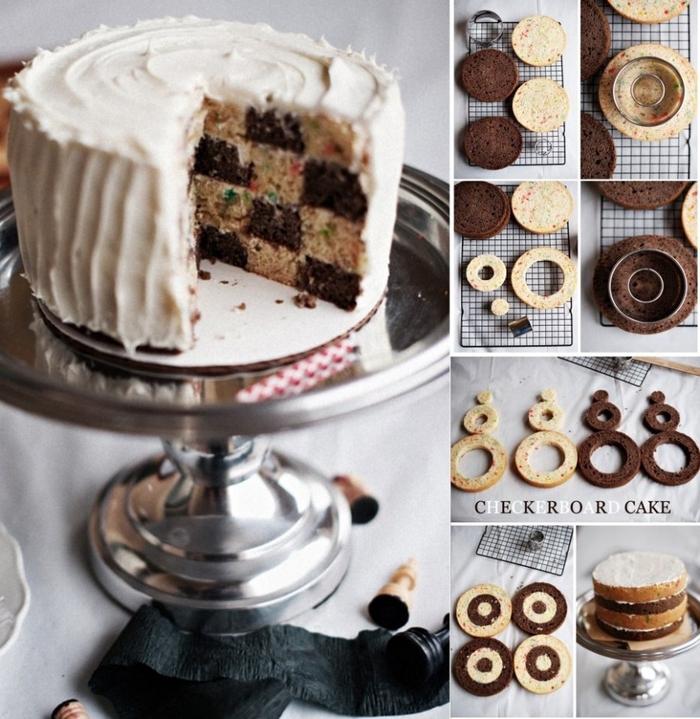 recette de gateau d'anniversaire damier au chocolat et vanille, tuto pour les réaliser le cake damier