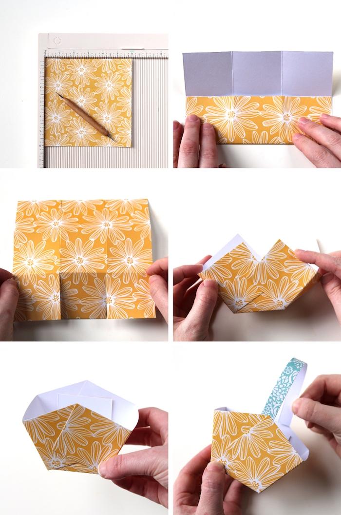 idée comment faire un panier de paques en papier coloré à motif fleuris, activité paques créative