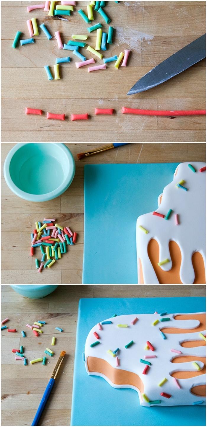 tuto pour décorer un gâteau d'anniversaire garçon en forme de bâtonner de glace avec de la pâte à sucre