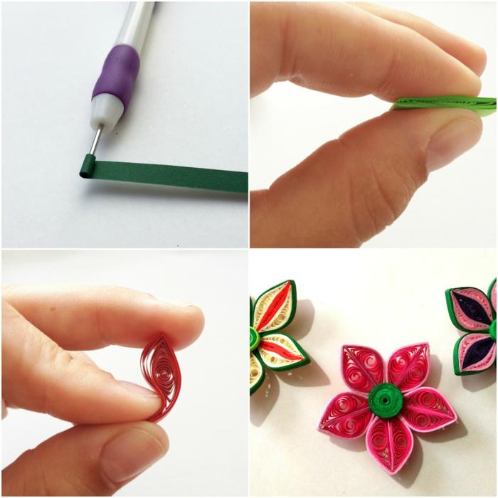 faire des fleurs quilling, enrouler les bandes avec outil quilling, pétales en couleurs