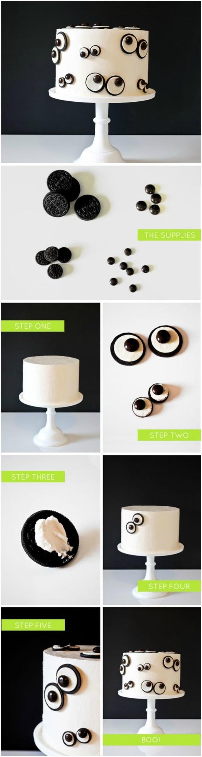 idée gateau anniversaire décoré de façon originale avec des yeux en pâte à sucre et biscuits oreo