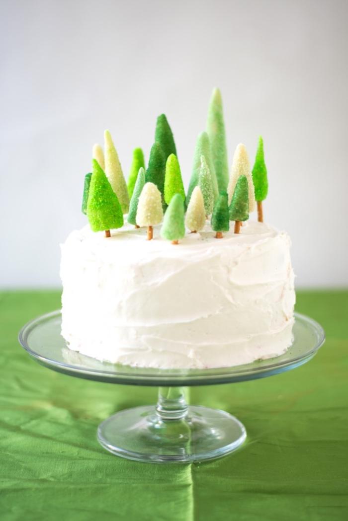 anniversaire sur thème nature et forêt avec un gateau d'anniversaire personnalisé décoré d'arbres en pâte d'amande