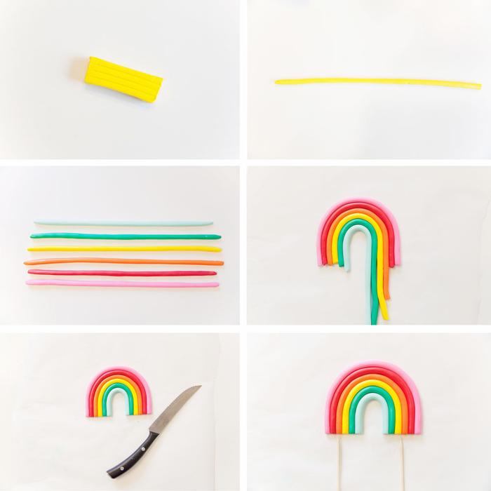 comment réaliser un cake topper personnalisé en forme de arc-en-ciel en argile pour la décoration d'un gateau licorne