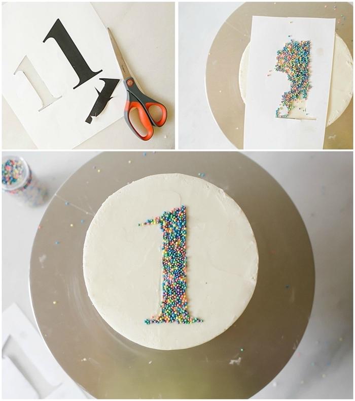 comment réaliser une décoration simple pour un gateau anniversaire 1 an à l'aide d'un patron chiffre