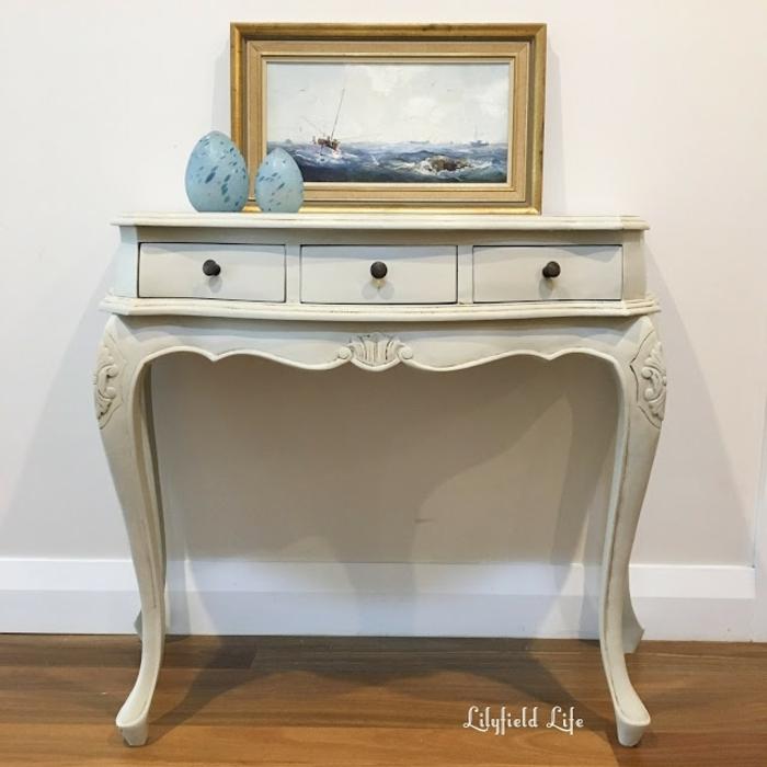 console avec pieds baroques, peindre un meuble en bois, peinture à thème marin