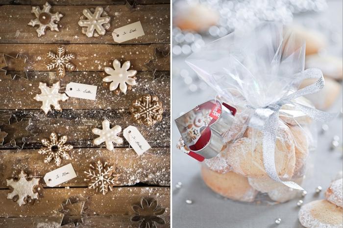 mariage surprise délicieuse avec cookies fait maison en formes de flocons de neige, joli emballage cadeau avec ruban argenté