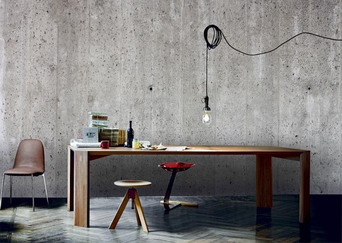 idée comment aménager un salon de style industriel avec revêtement mural en papier peint industriel à imitation béton