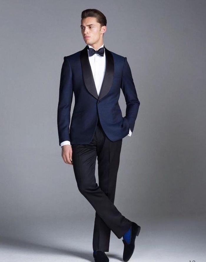 smoking homme mariage veste bleu marine satiné et pantalon noir