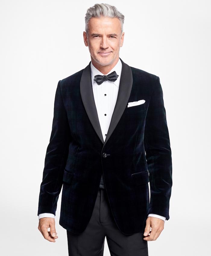 smoking homme mariage bleu marine et gris, tenue homme invité de mariage foncé avec chemise blanche
