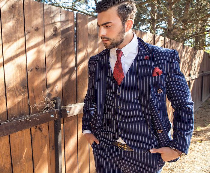 costard bleu marine à rayures homme, costume pour mariage foncé original style hispter vintage