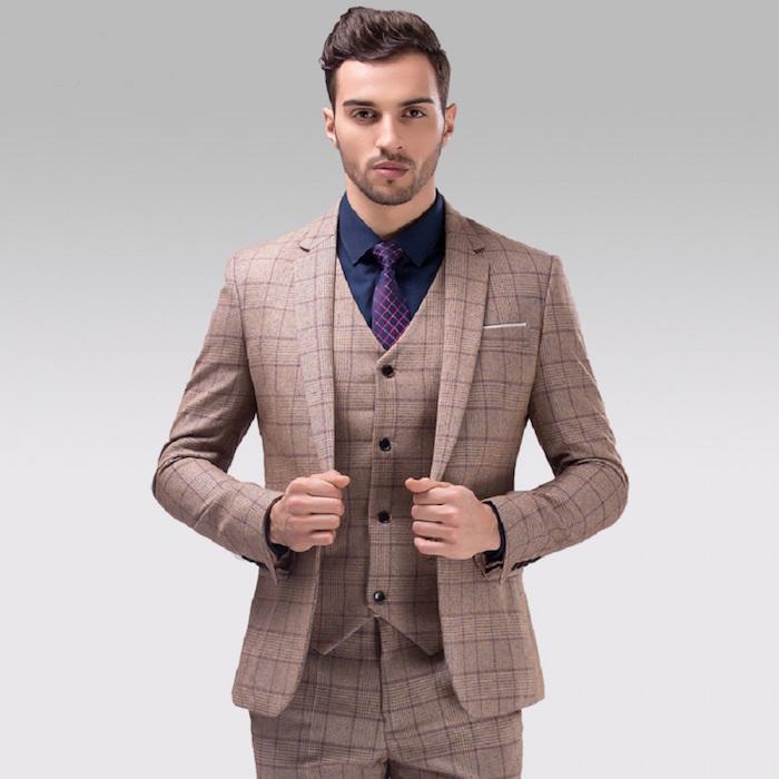 costume marron homme à carreaux ecossais, costume en laine rétro marron avec chemise bleu marine