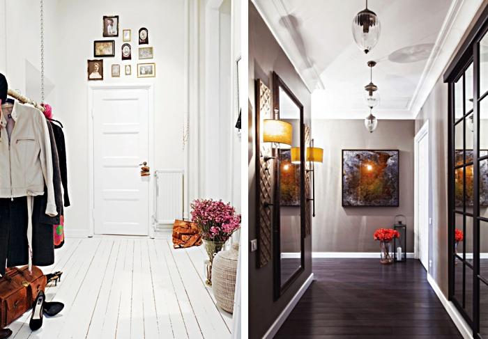 idée pour la couleur de peinture murale dans le couloir, espace aux murs blancs et parquet de bois blanc, couloir aux murs gris et plafond blanc