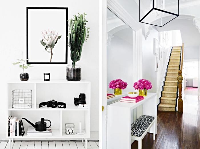 accessoires et objets décoratifs à finition métallique ou noire mate, meuble de rangement en bois peint blanc avec objets noirs