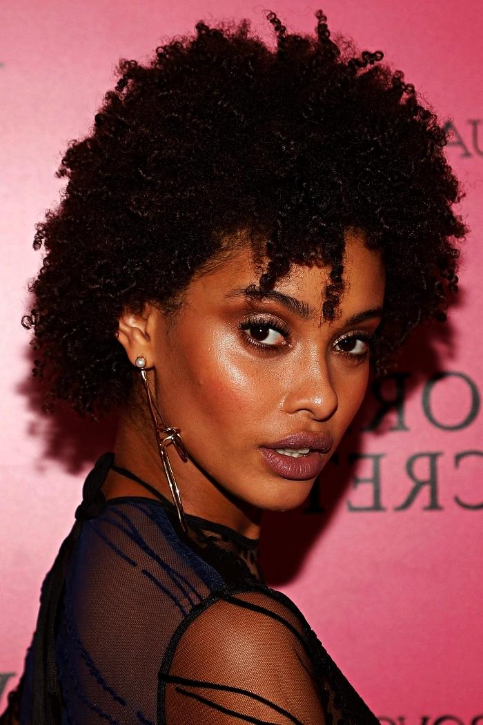 coiffure afro femme cheveux crépus naturels, coupe boule afro, coupe courte cheveux crépus tendance