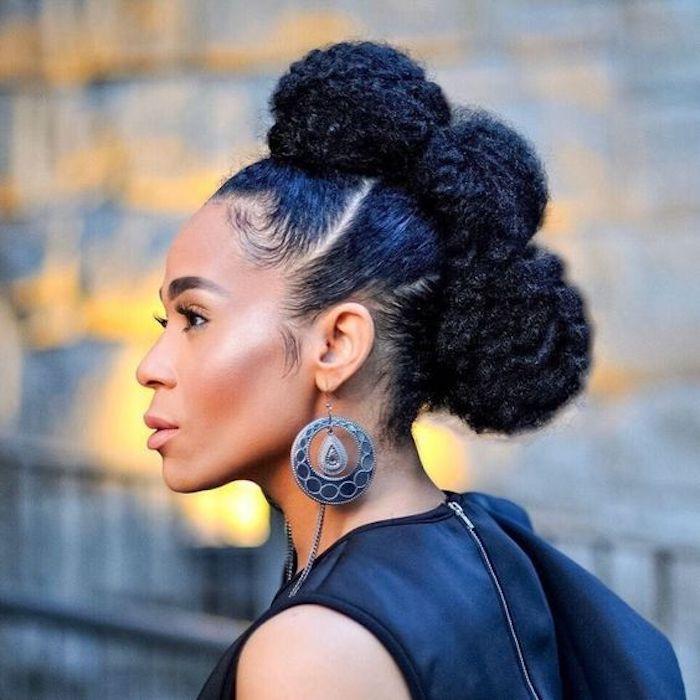 Chignon originale femme coupe de cheveux afro coiffure afro femme belle
