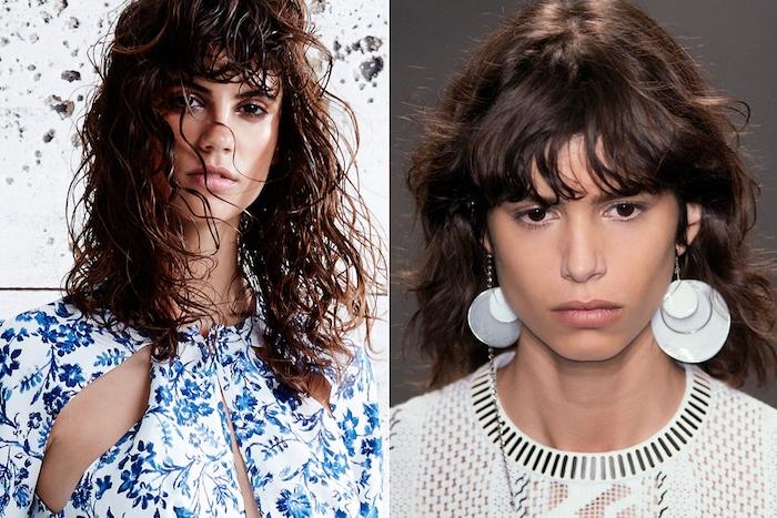 exemple de coupe frange rebelle sur des cheveux longs en dégradé, look femme cheveux décoiffés