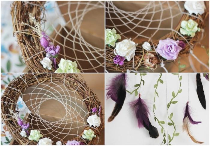 comment faire un attrape reve décoratif en couronne de branches de bois, filet blanc, décoration de fleurs colorées et plumes
