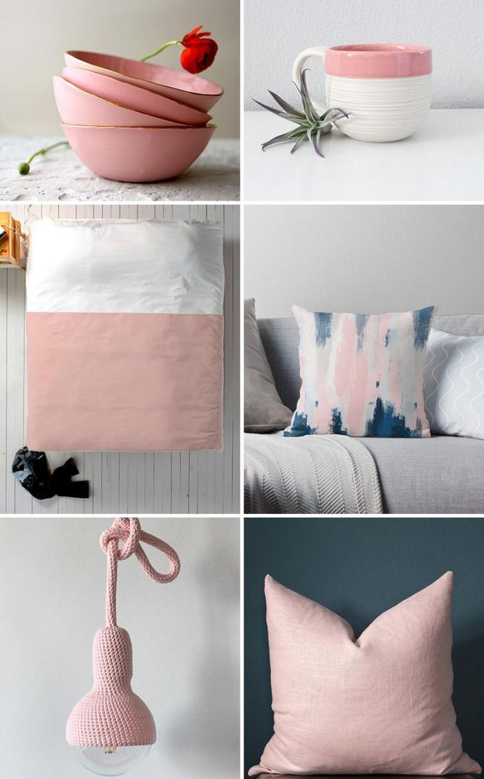 idée pour la déco intérieur en rose poudré et gris, aménagement salon gris avec canapé gris et coussins décoratifs en rose et gris