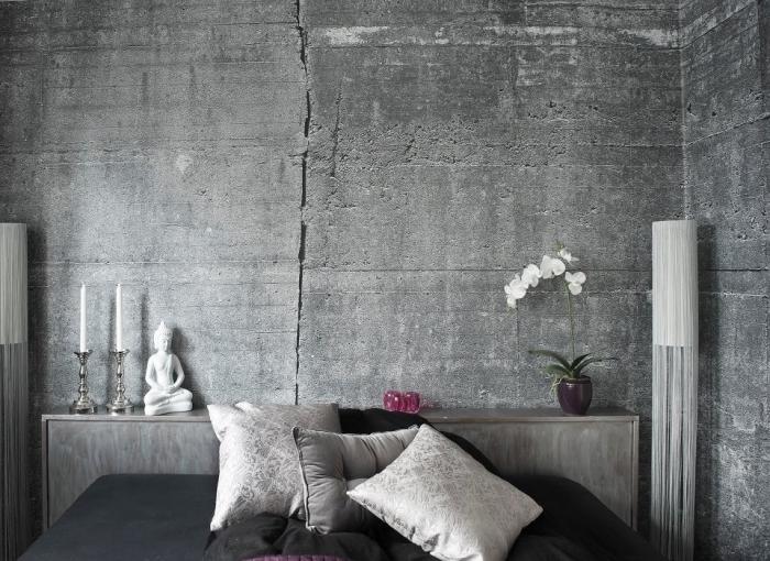 déco de style industriel avec papier peint à imitation béton et tête de lit gris, aménagement chambre à coucher grise