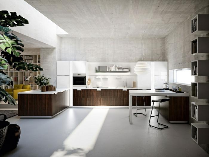 plafond en béton ciré, cabinets bois foncé, table blanche, étagère en cubes, cuisine ouverte vers salon