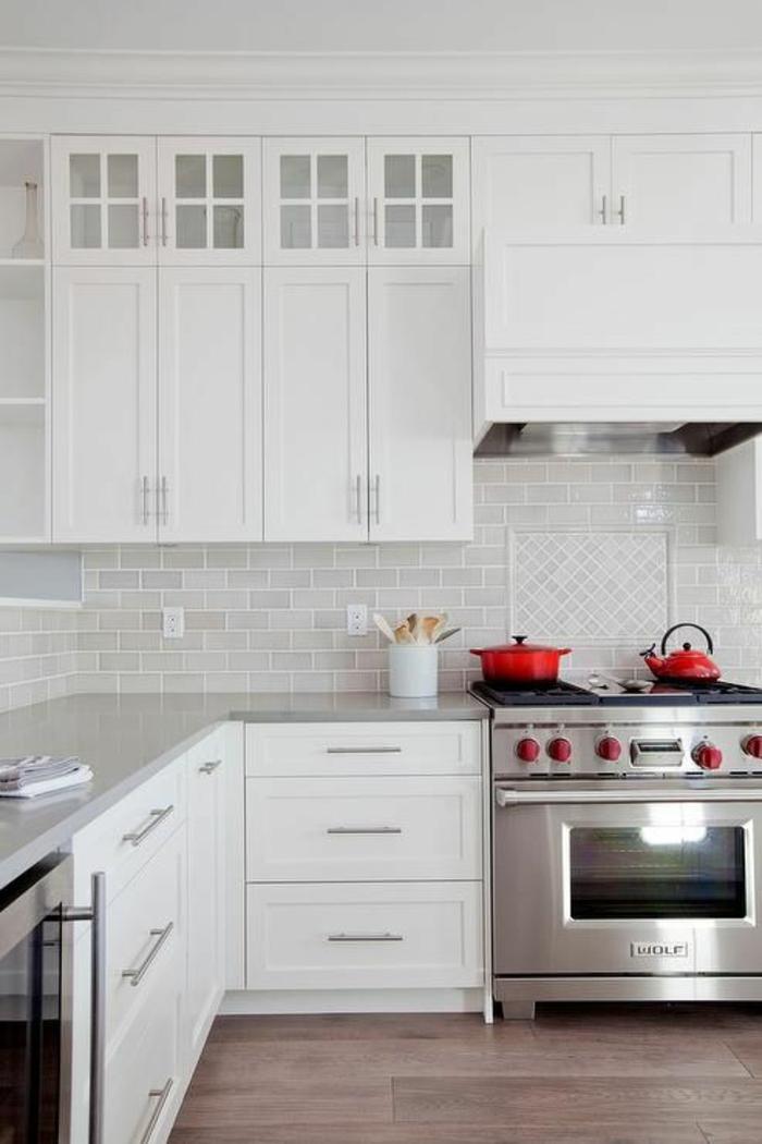 1001 id es pour une cuisine laqu e blanche des - Cuisine blanche et inox ...