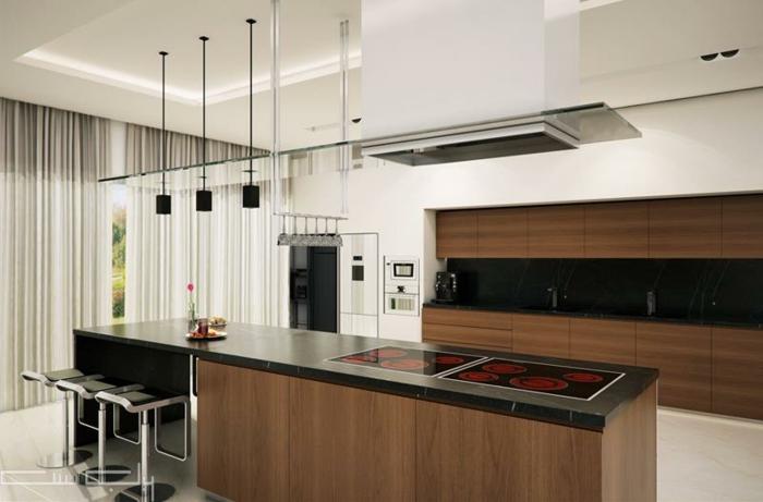 cuisine blanc et bois, design moderne, équipement de cuisine minimaliste, surfaces noires
