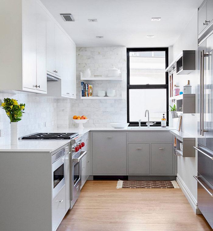 dco cuisine gris et blanc sobre et efficace - Cuisine Grise Et Blanc