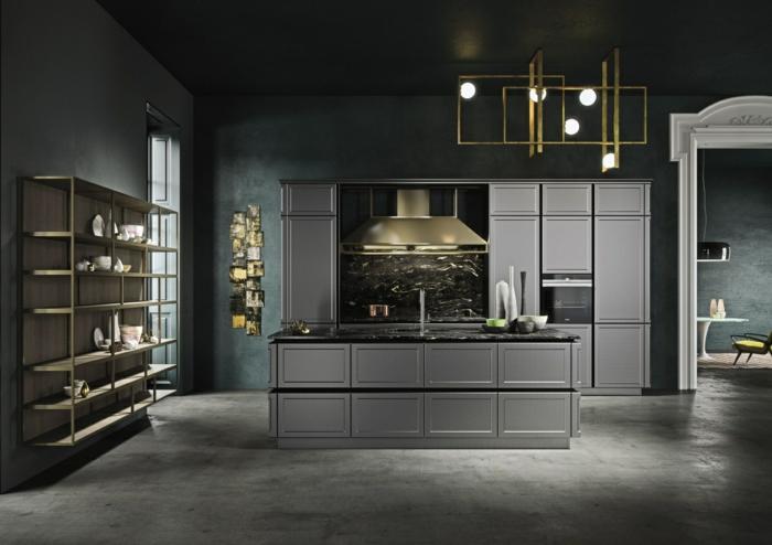 cuisine gris anthracite, installation lumineuse originale, étagère suspendue, îlot gris et noir