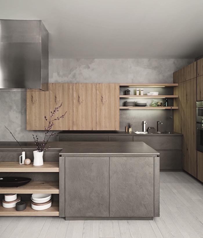 modele de cuisine grise et bois minimaliste avec mur effet beton, idée aménagement cuisine design