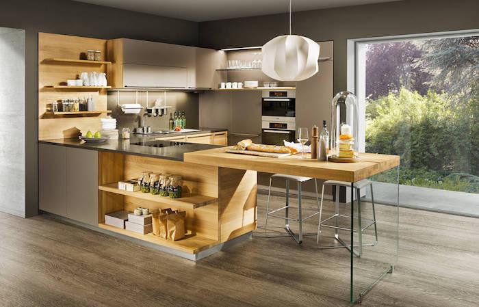 cuisine américaine design avec mur gris taupe, modele meubles design en bois pour cuisine