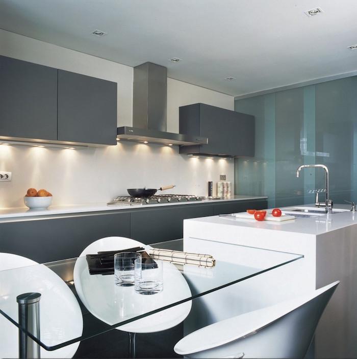 modeles de cuisines laquées blanches, peinture pour cuisine grise anthracite