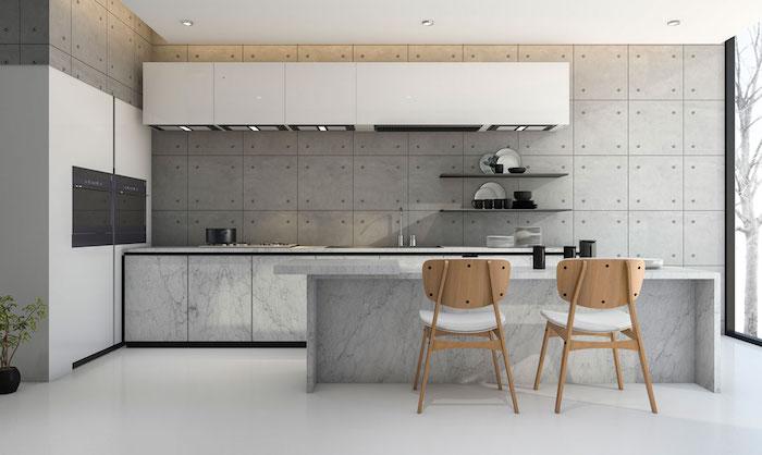 idée de deco cuisine gris et blanc, cuisine avec mur gris finition baton, ilot central en marbre
