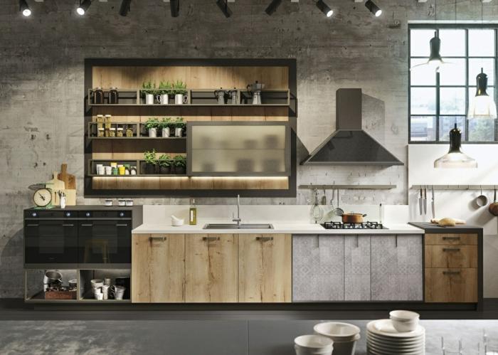 cuisine style loft industriel, mur en béton, placards simples, appareils design minimaliste