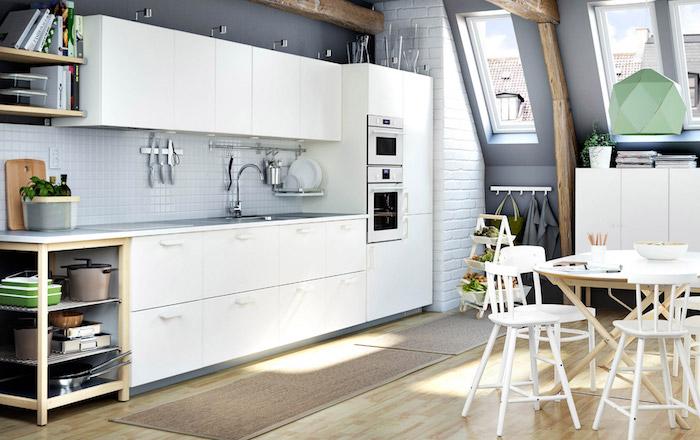 quelle couleur pour les murs d une cuisine avec meubles blancs, mur de cuisine gris anthracite