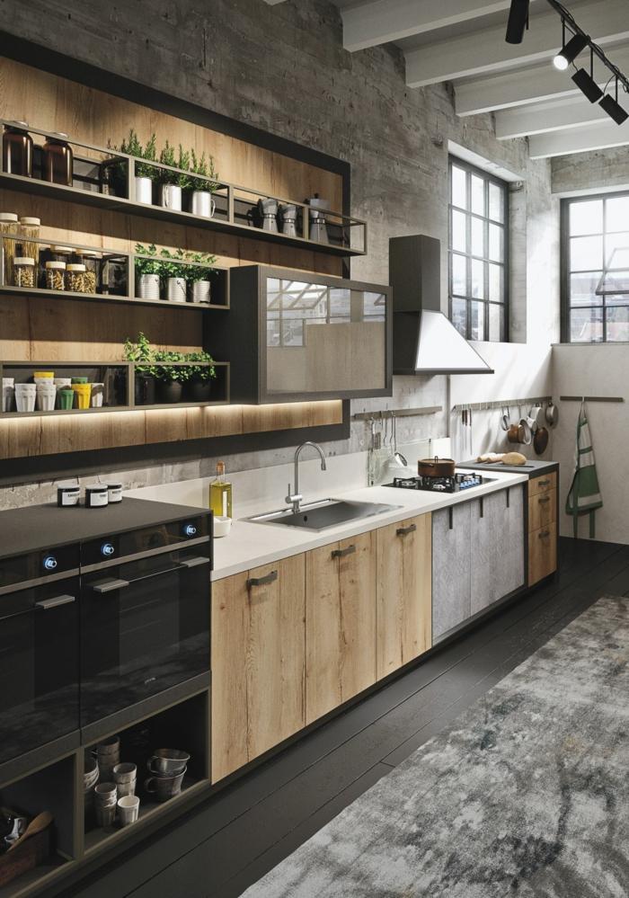 intérieur style loft, cuisine gris et bois, sol noir, étagère originale de bois