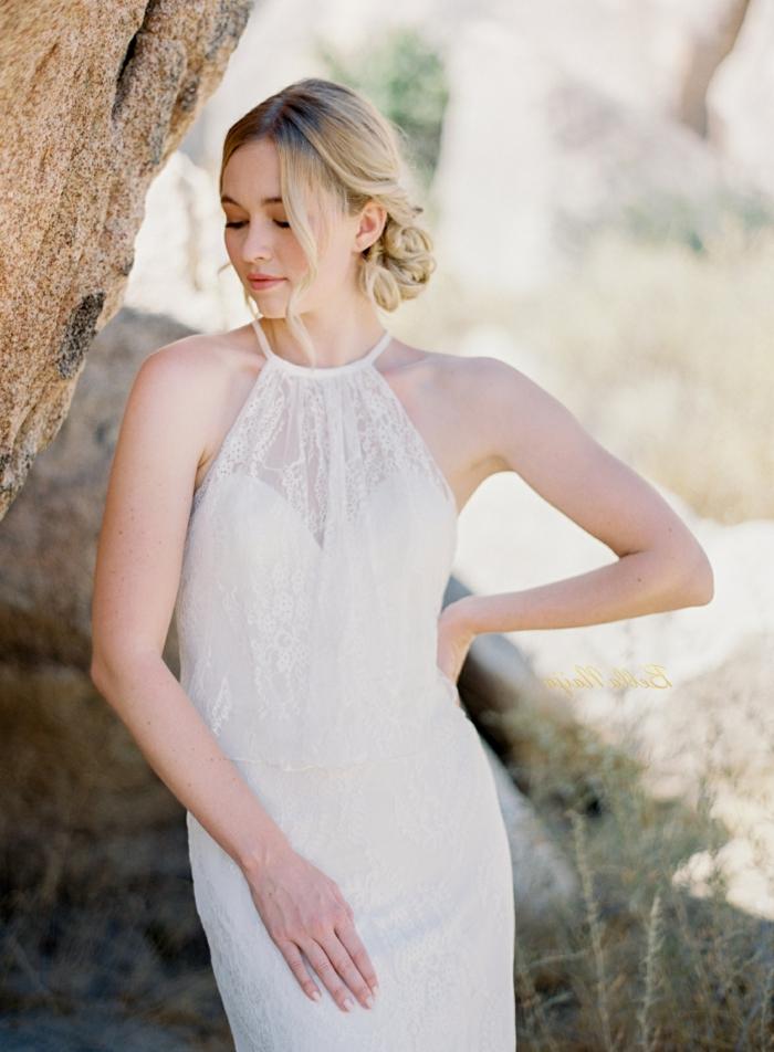 robe boheme avec décolleté élégant, bustier avec dentelle, design de robe féminin