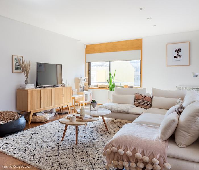 Meuble nordique salon scandinave hygge deco nordique ambiance canapé blanc cosy déco hygge vintage