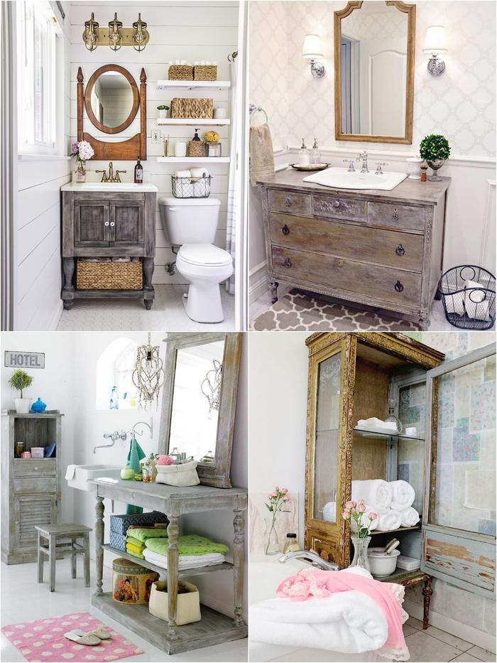 comment aménager une salle de bain ancienne avec un meuble-vasque réalisé à partir d'un meuble chiné