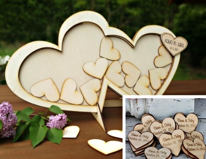 decoration mariage avec coeurs de bois minis à offrir à ses invités, idée surprise originale pour mariage