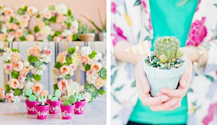 petit cadeau original, pot à fleur de couleur rose fuchsia avec lettres blanches et petit cactus vert, tenue femme en blouse turquoise et blazer floral